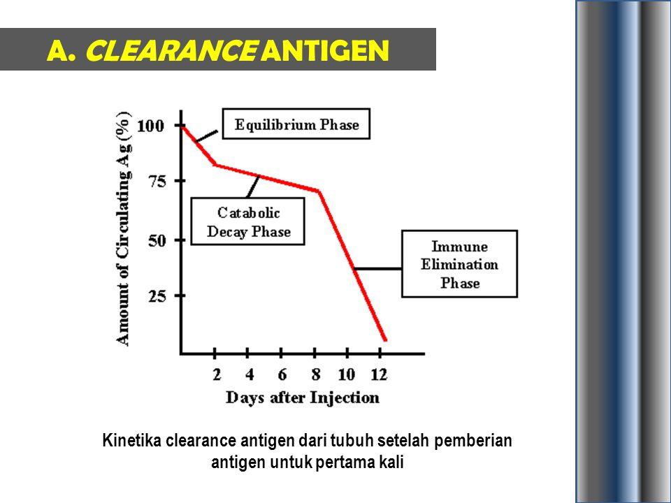 A. CLEARANCE ANTIGEN Kinetika clearance antigen dari tubuh setelah pemberian antigen untuk pertama kali