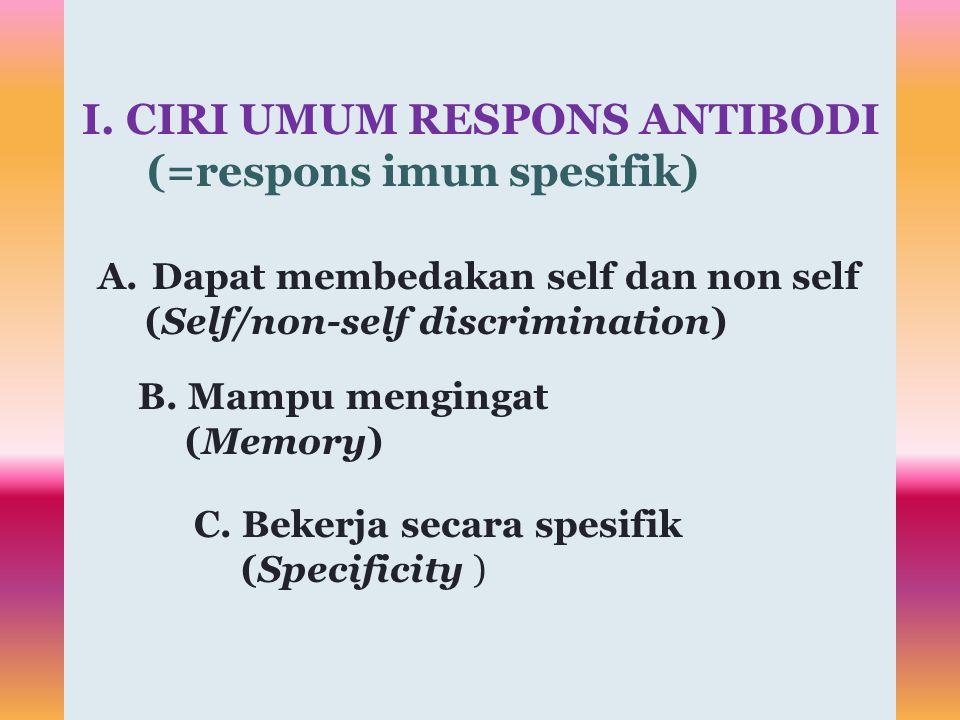 Membedakan self dan non self serta hanya bereaksi dengan non self Self/non-self discrimination Dapat mengingat antigen yang pernah kontak sebelumnya dan reaksi pada pertemuan berikutnya untuk antigen yang sama, berbeda Memory Spesifitas reaksi sangat tinggi.
