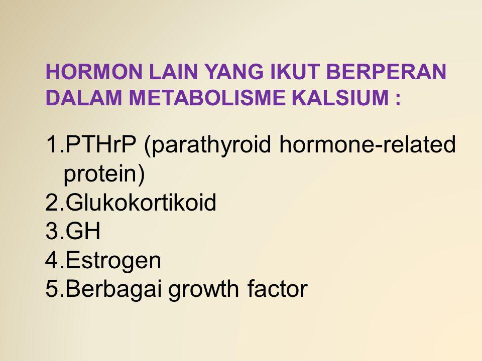HORMON LAIN YANG IKUT BERPERAN DALAM METABOLISME KALSIUM : 1.PTHrP (parathyroid hormone-related protein) 2.Glukokortikoid 3.GH 4.Estrogen 5.Berbagai g