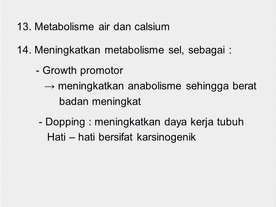 13. Metabolisme air dan calsium 14. Meningkatkan metabolisme sel, sebagai : - Growth promotor → meningkatkan anabolisme sehingga berat badan meningkat