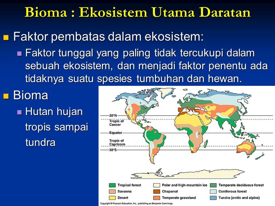 Bioma : Ekosistem Utama Daratan Faktor pembatas dalam ekosistem: Faktor pembatas dalam ekosistem: Faktor tunggal yang paling tidak tercukupi dalam seb