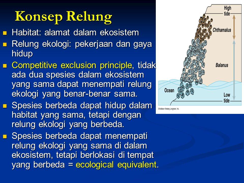 Konsep Relung Habitat: alamat dalam ekosistem Habitat: alamat dalam ekosistem Relung ekologi: pekerjaan dan gaya hidup Relung ekologi: pekerjaan dan g