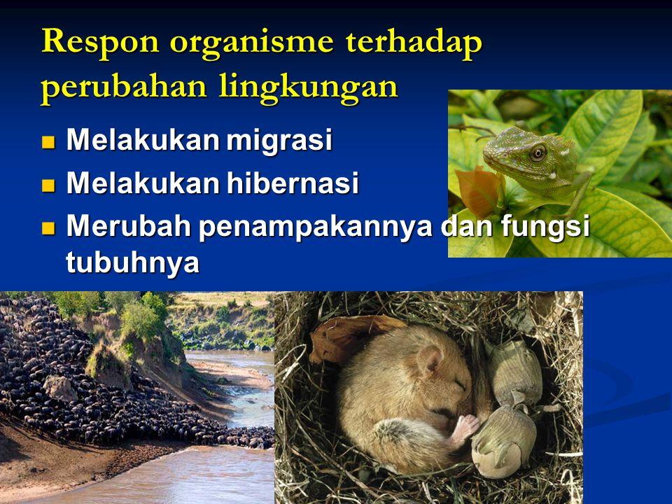 Respon organisme terhadap perubahan lingkungan Melakukan migrasi Melakukan migrasi Melakukan hibernasi Melakukan hibernasi Merubah penampakannya dan f