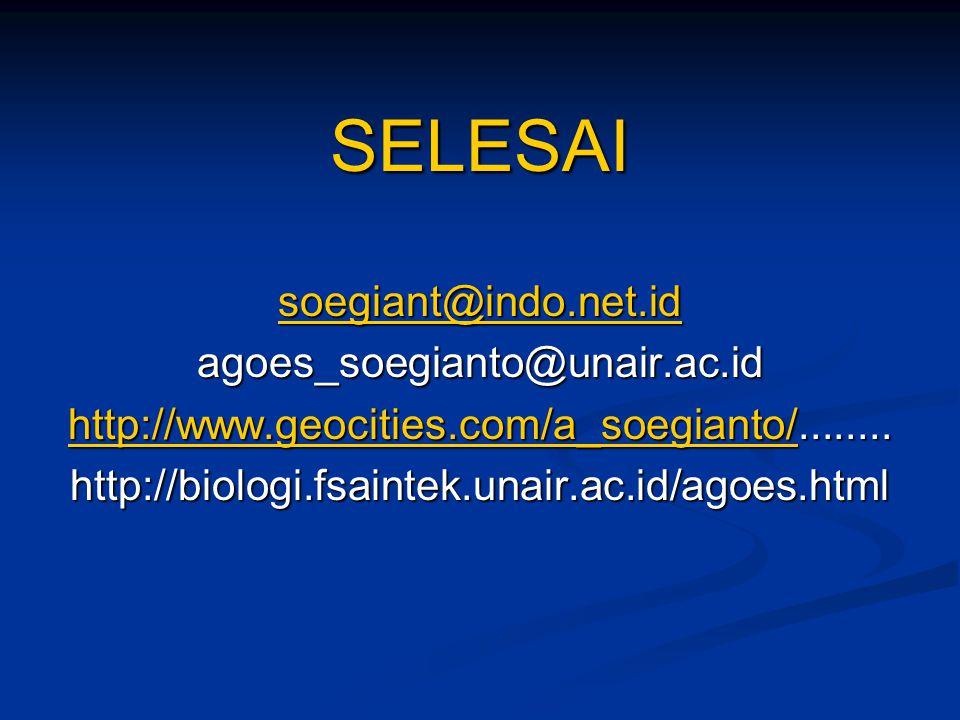 SELESAI soegiant@indo.net.id agoes_soegianto@unair.ac.id http://www.geocities.com/a_soegianto/http://www.geocities.com/a_soegianto/........ http://www