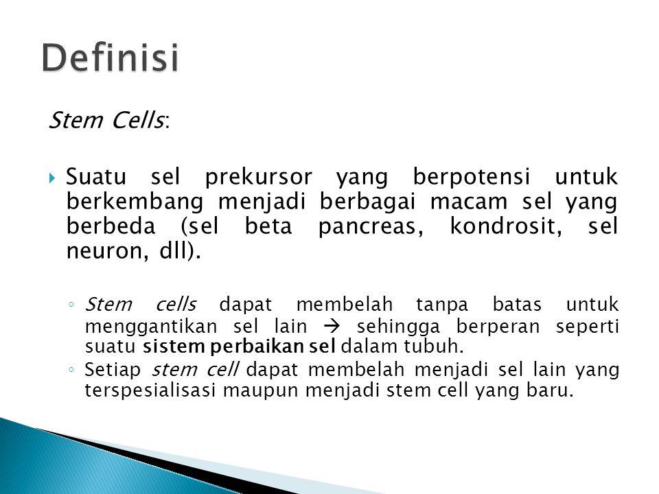 Stem Cells:  Suatu sel prekursor yang berpotensi untuk berkembang menjadi berbagai macam sel yang berbeda (sel beta pancreas, kondrosit, sel neuron,