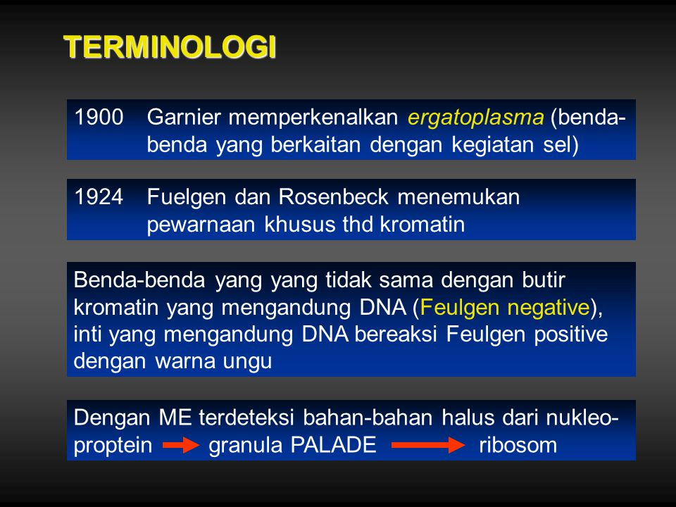 TERMINOLOGI 1900Garnier memperkenalkan ergatoplasma (benda- benda yang berkaitan dengan kegiatan sel) 1924Fuelgen dan Rosenbeck menemukan pewarnaan kh