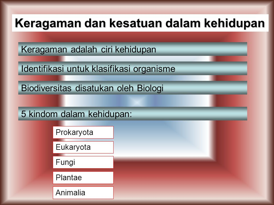 Keragaman dan kesatuan dalam kehidupan Keragaman adalah ciri kehidupan Identifikasi untuk klasifikasi organisme Biodiversitas disatukan oleh Biologi 5 kindom dalam kehidupan: Prokaryota Eukaryota Fungi Plantae Animalia