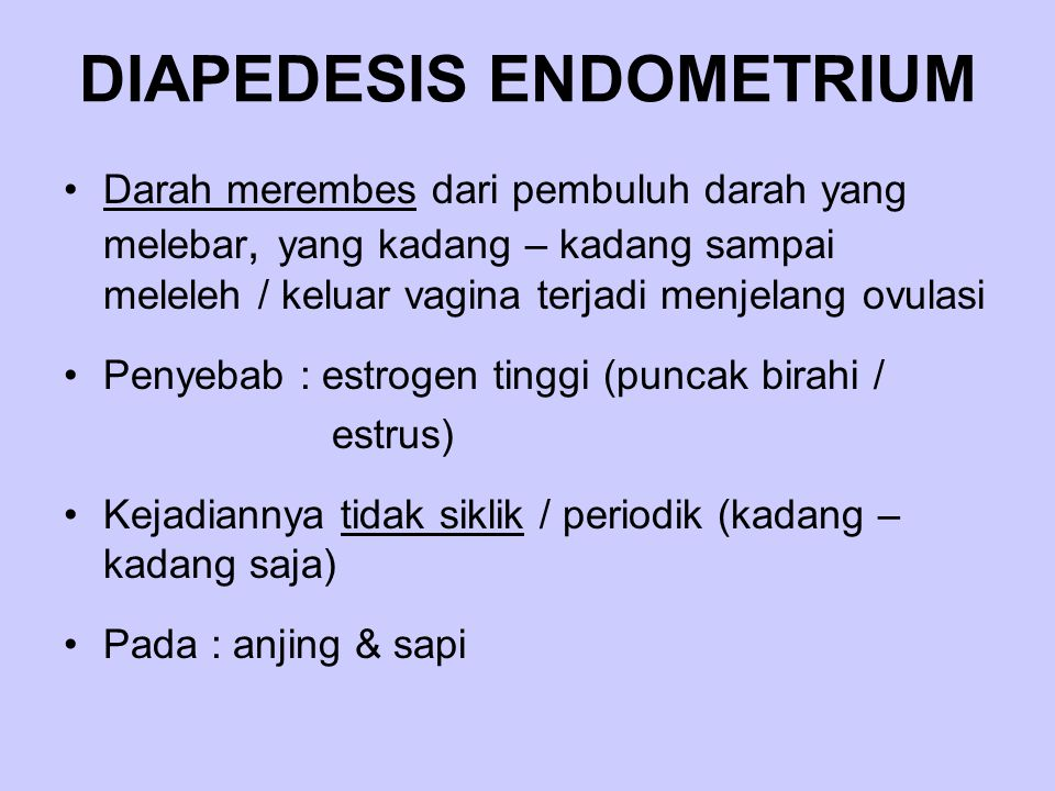 DIAPEDESIS ENDOMETRIUM Darah merembes dari pembuluh darah yang melebar, yang kadang – kadang sampai meleleh / keluar vagina terjadi menjelang ovulasi