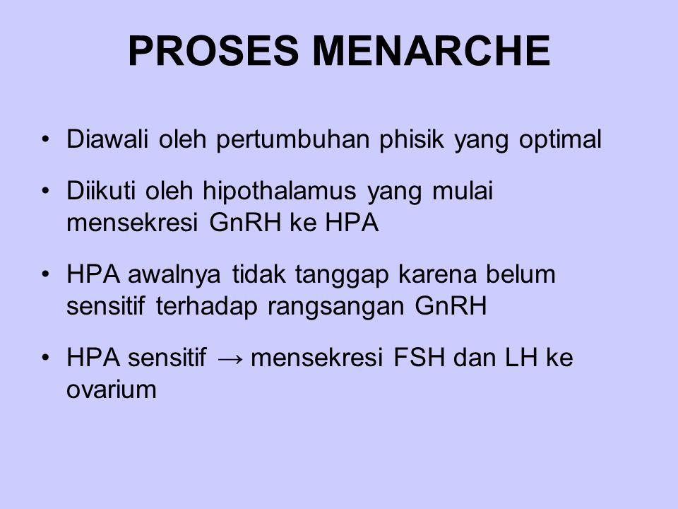 PROSES MENARCHE Diawali oleh pertumbuhan phisik yang optimal Diikuti oleh hipothalamus yang mulai mensekresi GnRH ke HPA HPA awalnya tidak tanggap kar