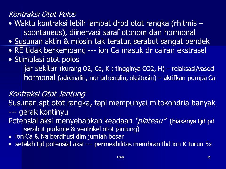 TO2K11 Kontraksi Otot Polos Waktu kontraksi lebih lambat drpd otot rangka (rhitmis – spontaneus), diinervasi saraf otonom dan hormonal Susunan aktin &