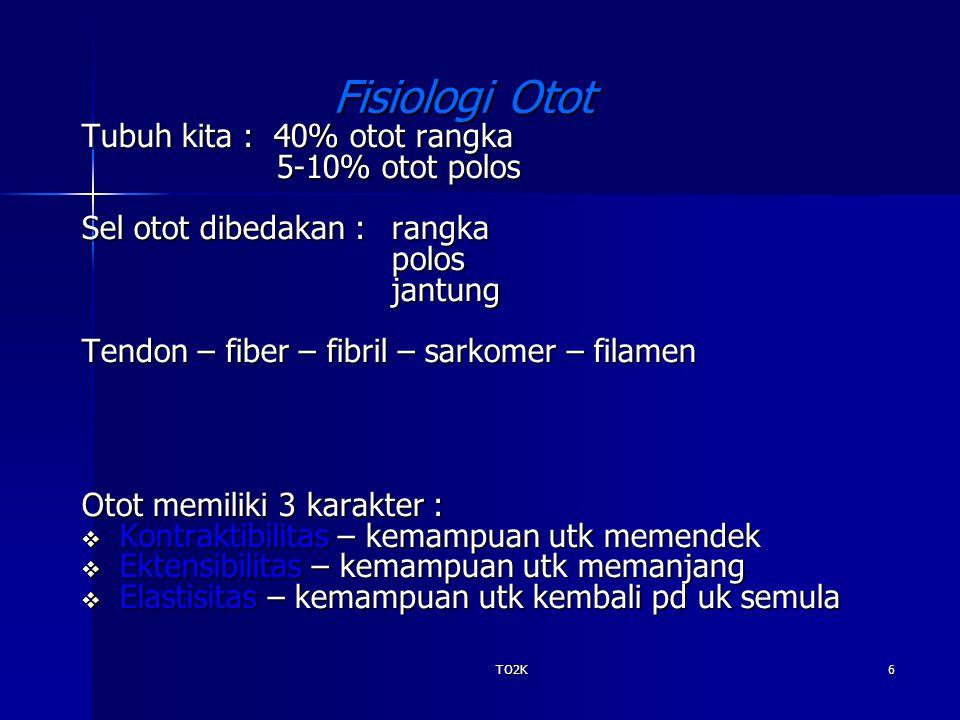 TO2K6 Fisiologi Otot Tubuh kita : 40% otot rangka 5-10% otot polos 5-10% otot polos Sel otot dibedakan : rangka polosjantung Tendon – fiber – fibril –
