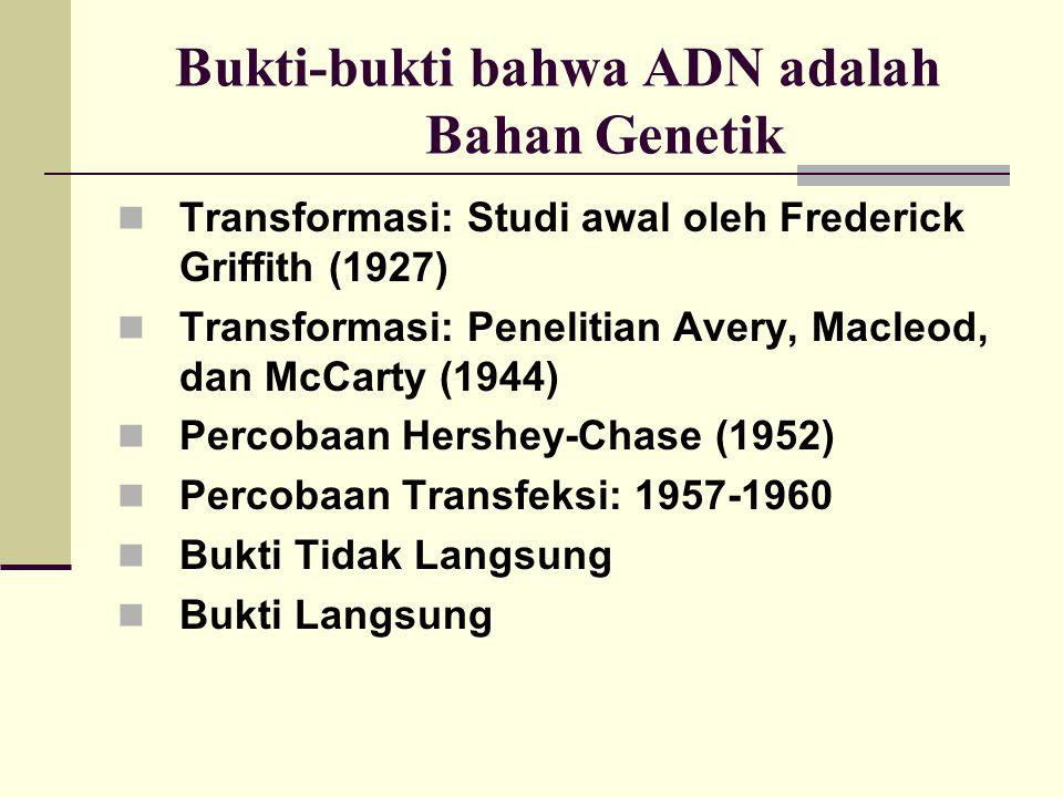 Bukti-bukti bahwa ADN adalah Bahan Genetik Transformasi: Studi awal oleh Frederick Griffith (1927) Transformasi: Penelitian Avery, Macleod, dan McCart