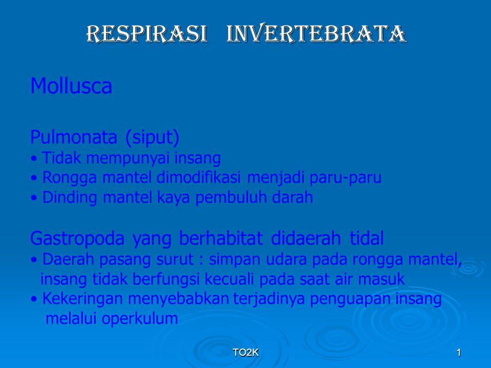 TO2K1 RESPIRASI INVERTEBRATA Mollusca Pulmonata (siput) Tidak mempunyai insang Rongga mantel dimodifikasi menjadi paru-paru Dinding mantel kaya pembul