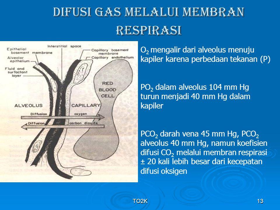 TO2K13 DIFUSI GAS MELALUI MEMBRAN RESPIRASI O 2 mengalir dari alveolus menuju kapiler karena perbedaan tekanan (P) PO 2 dalam alveolus 104 mm Hg turun