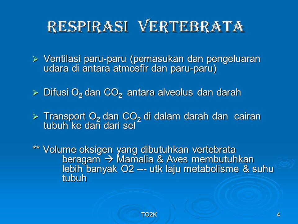 TO2K5 Pulmo  mengembang/mengempis melalui : 1.Gerak naik/turunnya otot diafragma  membesarkan atau mengecilkan rongga dada secara vertikal 2.Elevasi/depresi otot tulang rusuk  meningkatkan atau menurunkan diameter anteroposterior/horizontal rongga dada Manusia laki-laki dewasa mempunyai 300 juta alveoli dgn luas permukaan sebesar 80 m 2  permukaan alveoli sangat tipis, lembab & banyak kapiler darah --- epitel alveoli menghasilkan surfaktan (utk menurunkan teg permukaan cairan yg melapisi alveolus) Saat inspirasi : tekanan alveolar < tek atmosfir  udara mengalir ke saluran pernafasan (sebaliknya ekspirasi)