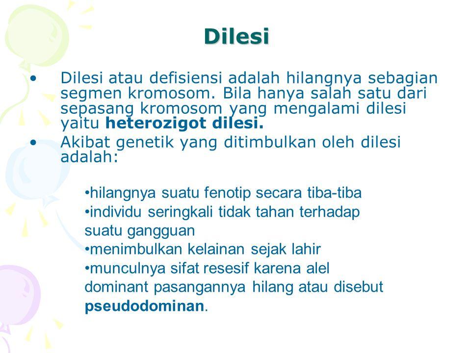 Dilesi Dilesi atau defisiensi adalah hilangnya sebagian segmen kromosom. Bila hanya salah satu dari sepasang kromosom yang mengalami dilesi yaitu hete