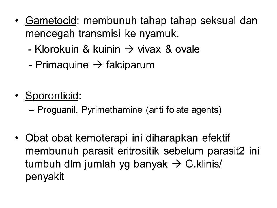 Gametocid: membunuh tahap tahap seksual dan mencegah transmisi ke nyamuk. - Klorokuin & kuinin  vivax & ovale - Primaquine  falciparum Sporonticid: