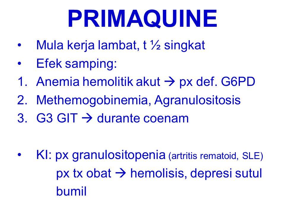 PRIMAQUINE Mula kerja lambat, t ½ singkat Efek samping: 1.Anemia hemolitik akut  px def. G6PD 2.Methemogobinemia, Agranulositosis 3.G3 GIT  durante