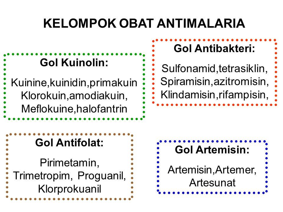 Gol Antibakteri: Sulfonamid,tetrasiklin, Spiramisin,azitromisin, Klindamisin,rifampisin, Gol Artemisin: Artemisin,Artemer, Artesunat Gol Kuinolin: Kui