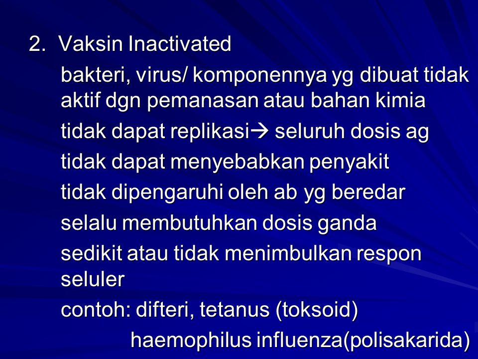 2. Vaksin Inactivated bakteri, virus/ komponennya yg dibuat tidak aktif dgn pemanasan atau bahan kimia tidak dapat replikasi  seluruh dosis ag tidak
