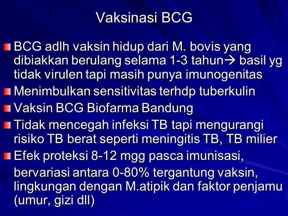 Vaksinasi BCG BCG adlh vaksin hidup dari M. bovis yang dibiakkan berulang selama 1-3 tahun  basil yg tidak virulen tapi masih punya imunogenitas Meni