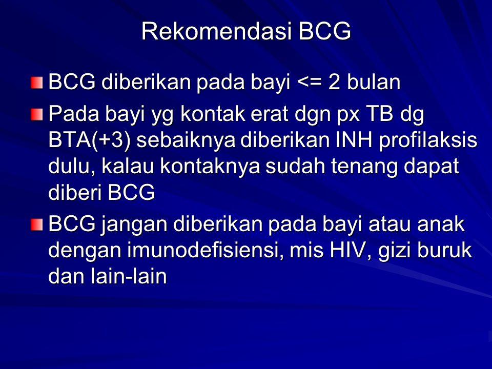 Rekomendasi BCG BCG diberikan pada bayi <= 2 bulan Pada bayi yg kontak erat dgn px TB dg BTA(+3) sebaiknya diberikan INH profilaksis dulu, kalau konta