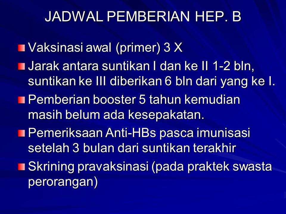 JADWAL PEMBERIAN HEP. B Vaksinasi awal (primer) 3 X Jarak antara suntikan I dan ke II 1-2 bln, suntikan ke III diberikan 6 bln dari yang ke I. Pemberi