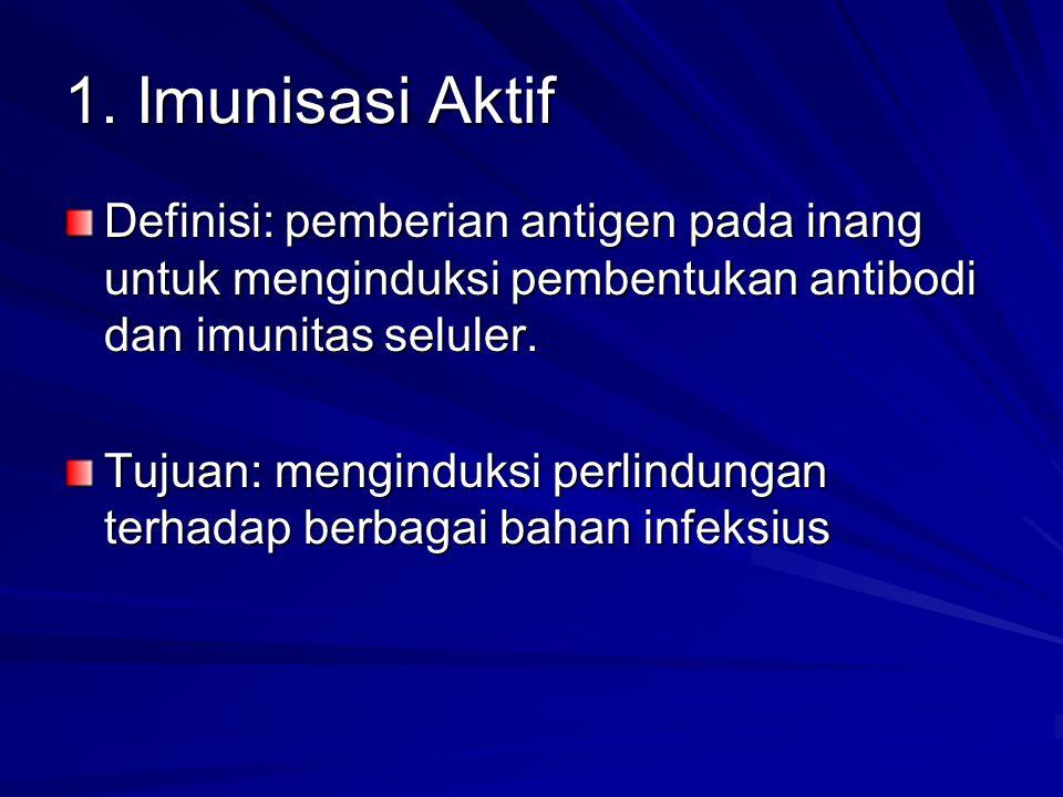 1. Imunisasi Aktif Definisi: pemberian antigen pada inang untuk menginduksi pembentukan antibodi dan imunitas seluler. Tujuan: menginduksi perlindunga