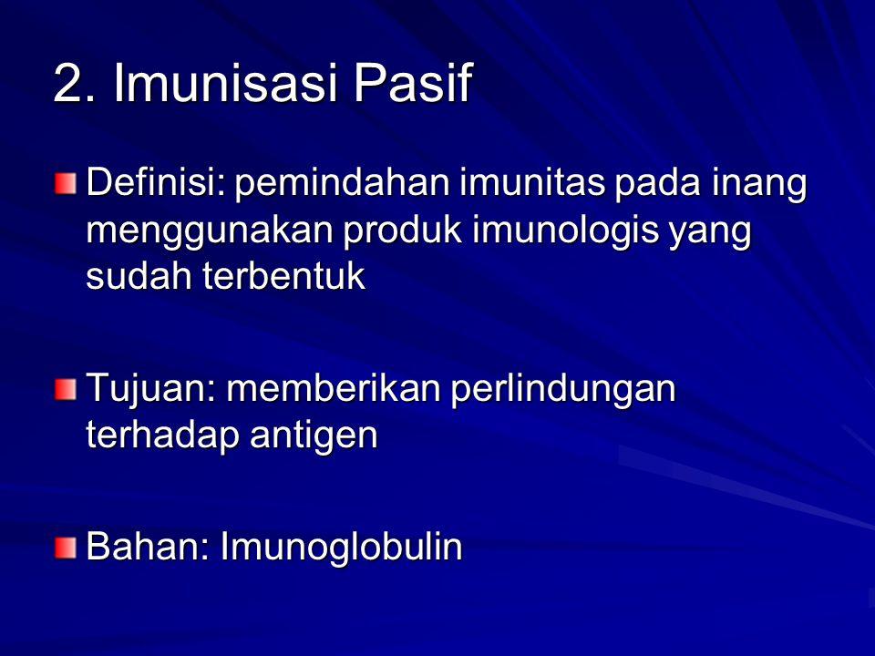 2. Imunisasi Pasif Definisi: pemindahan imunitas pada inang menggunakan produk imunologis yang sudah terbentuk Tujuan: memberikan perlindungan terhada