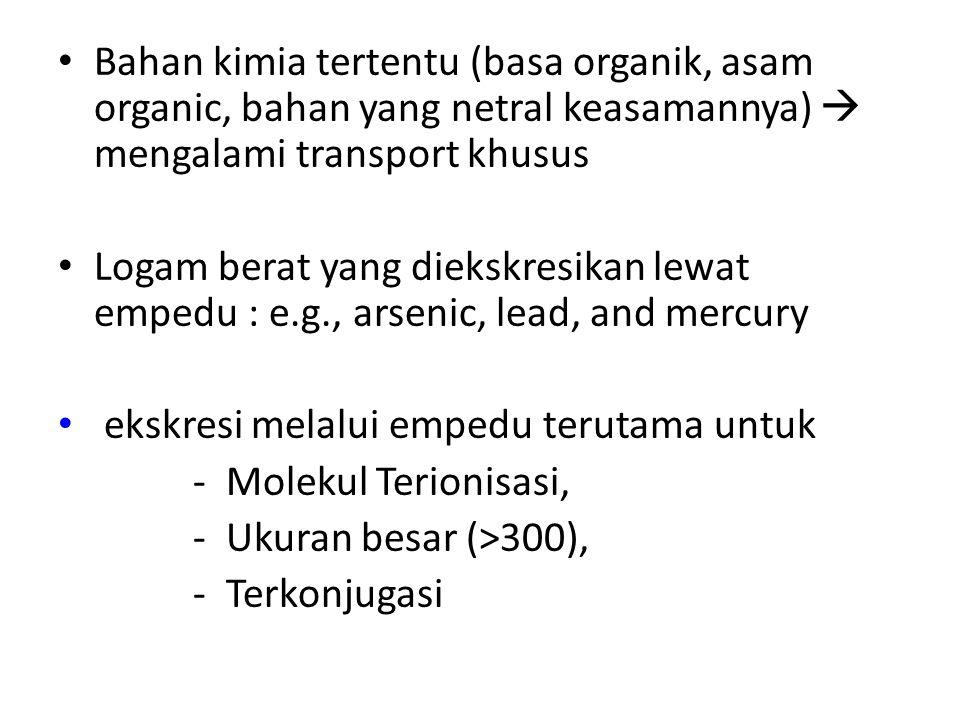 Bahan kimia tertentu (basa organik, asam organic, bahan yang netral keasamannya)  mengalami transport khusus Logam berat yang diekskresikan lewat emp