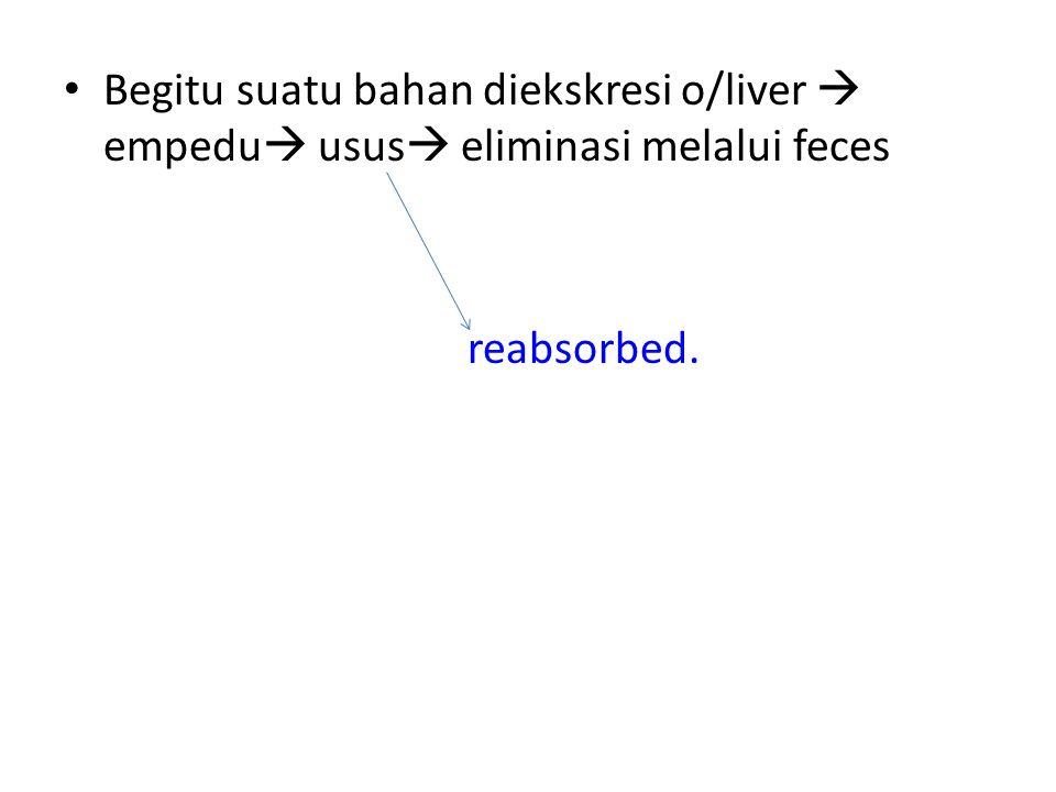 Begitu suatu bahan diekskresi o/liver  empedu  usus  eliminasi melalui feces reabsorbed.