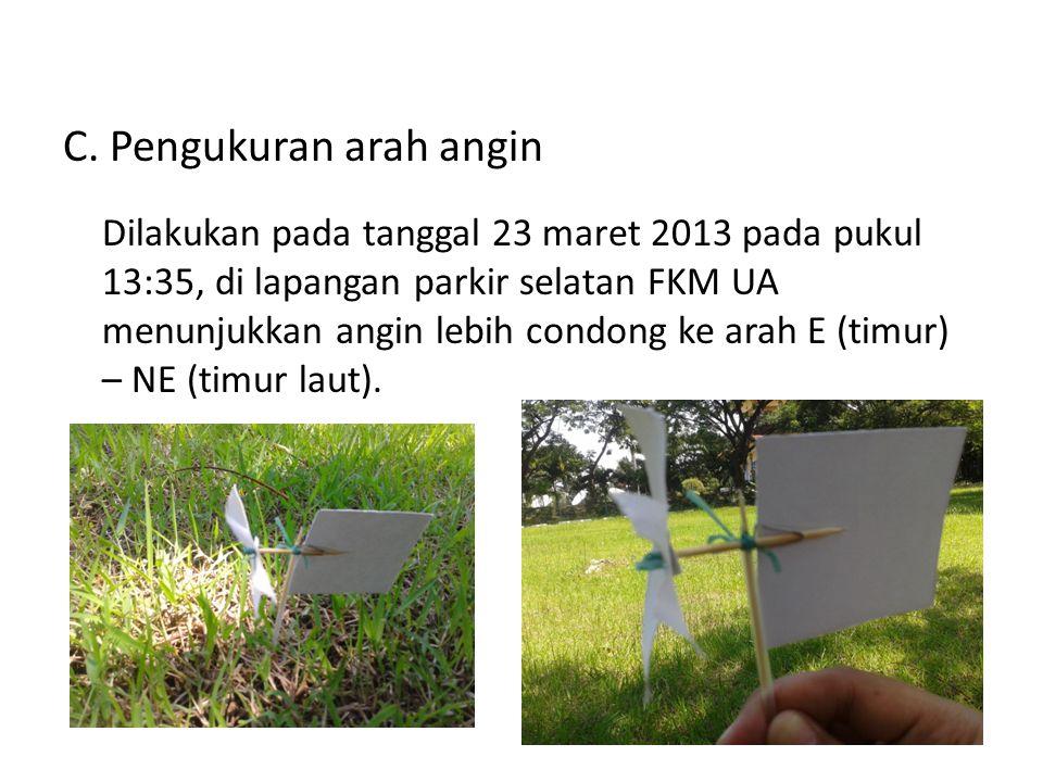 C. Pengukuran arah angin Dilakukan pada tanggal 23 maret 2013 pada pukul 13:35, di lapangan parkir selatan FKM UA menunjukkan angin lebih condong ke a