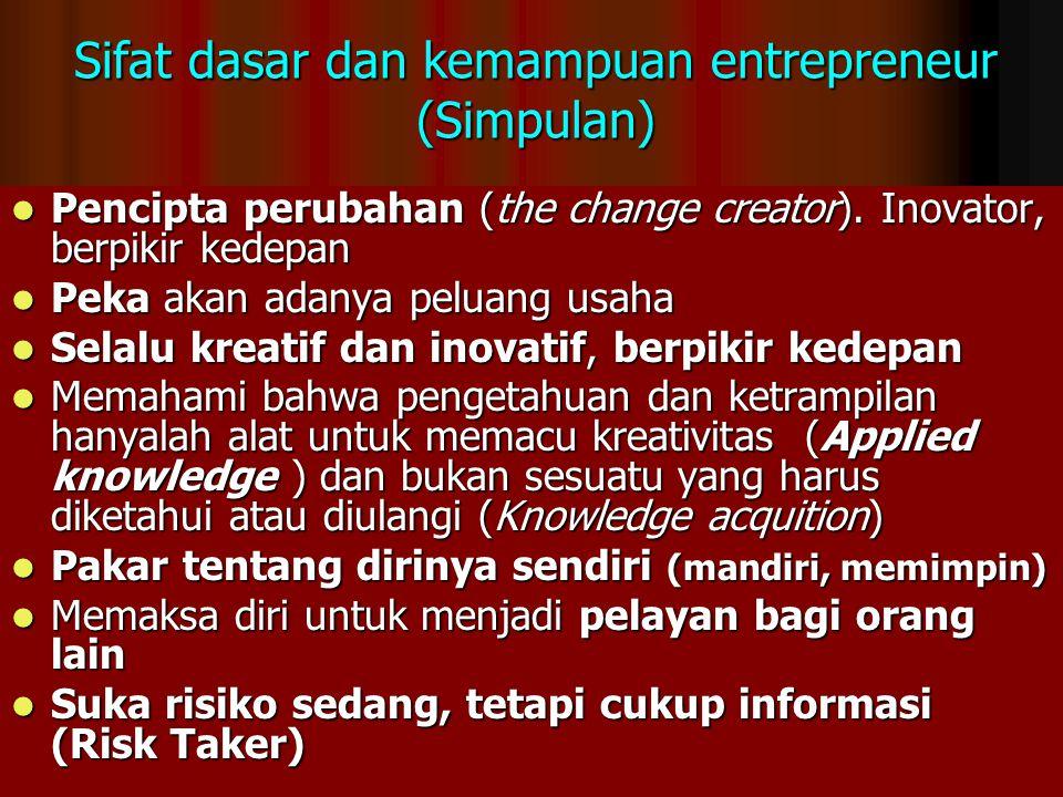 Sifat dasar dan kemampuan entrepreneur (Simpulan) Pencipta perubahan (the change creator). Inovator, berpikir kedepan Pencipta perubahan (the change c