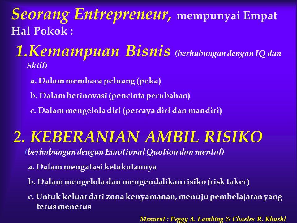 Seorang Entrepreneur, mempunyai Empat Hal Pokok : 1.Kemampuan Bisnis (berhubungan dengan IQ dan Skill) a. Dalam membaca peluang (peka) b. Dalam berino