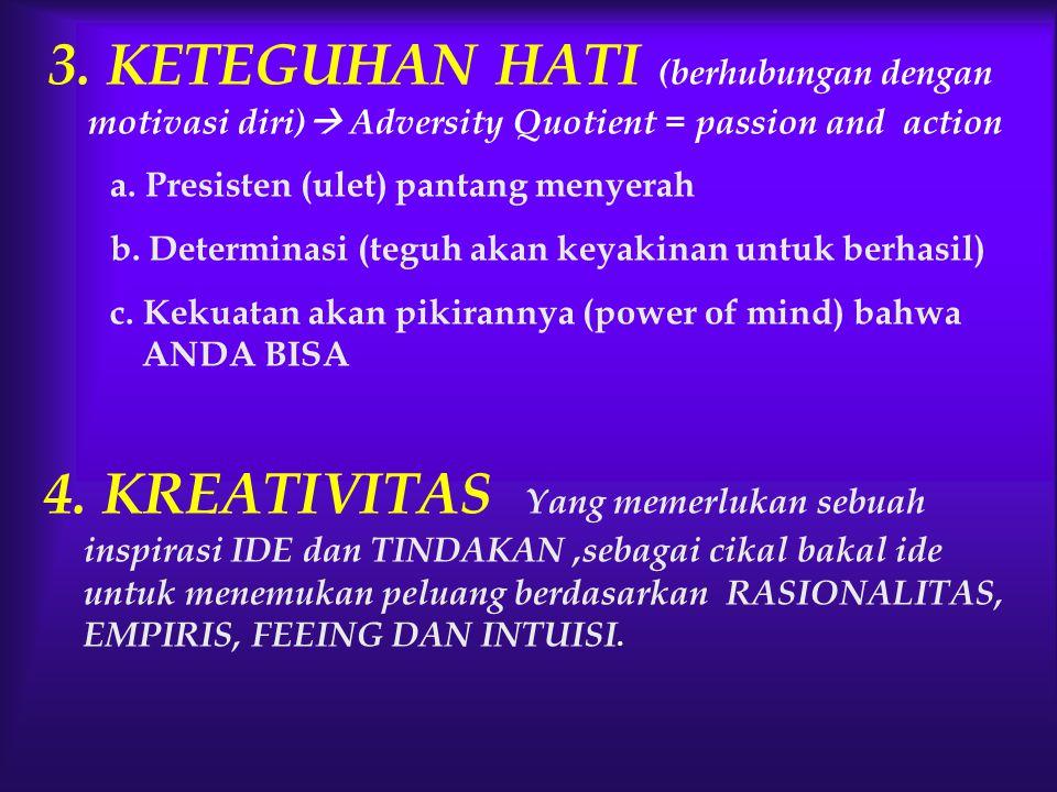 3. KETEGUHAN HATI (berhubungan dengan motivasi diri)  Adversity Quotient = passion and action a. Presisten (ulet) pantang menyerah b. Determinasi (te