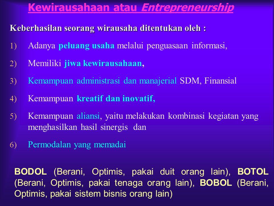Kewirausahaan atau Entrepreneurship Keberhasilan seorang wirausaha ditentukan oleh : 1) Adanya peluang usaha melalui penguasaan informasi, 2) Memiliki