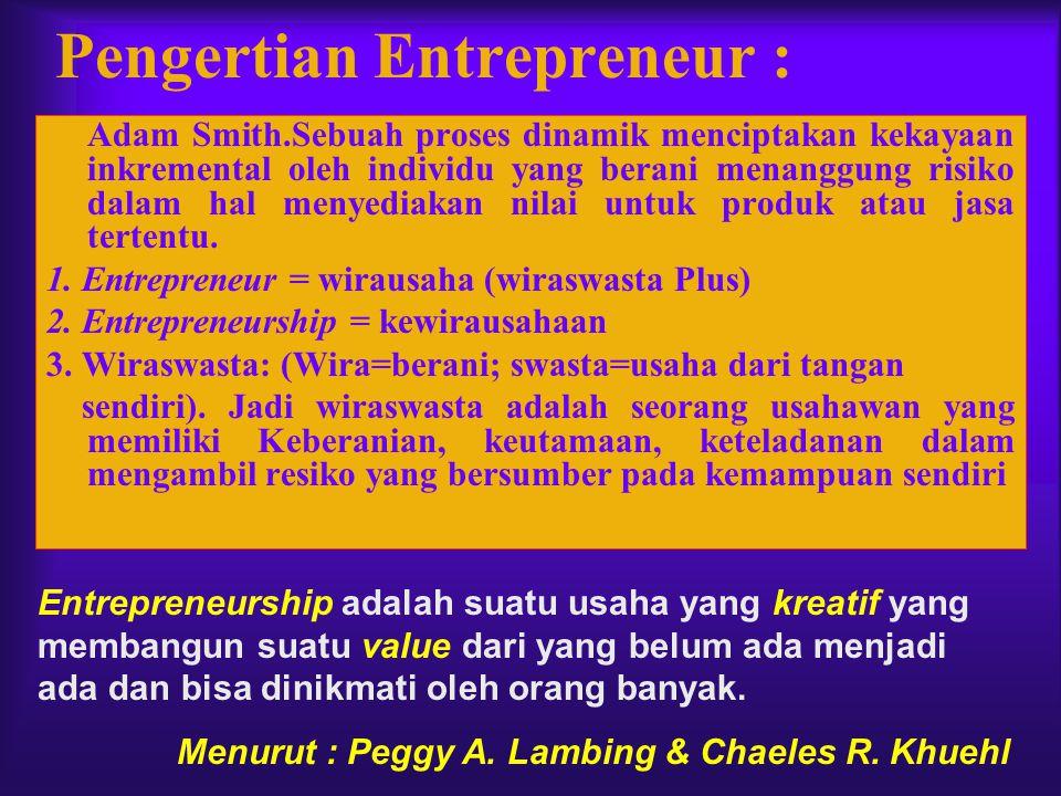 Pengertian Entrepreneur : Adam Smith.Sebuah proses dinamik menciptakan kekayaan inkremental oleh individu yang berani menanggung risiko dalam hal meny