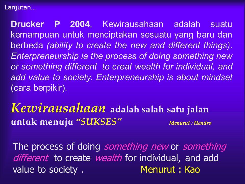 """Kewirausahaan adalah salah satu jalan untuk menuju """"SUKSES"""" Menurut : Hendro The process of doing something new or something different to create wealt"""