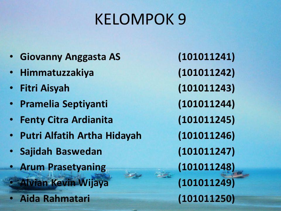 KELOMPOK 9 Giovanny Anggasta AS(101011241) Himmatuzzakiya(101011242) Fitri Aisyah(101011243) Pramelia Septiyanti(101011244) Fenty Citra Ardianita(1010