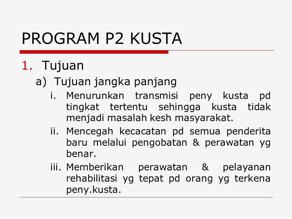 PROGRAM P2 KUSTA 1.Tujuan a)Tujuan jangka panjang i.Menurunkan transmisi peny kusta pd tingkat tertentu sehingga kusta tidak menjadi masalah kesh masy