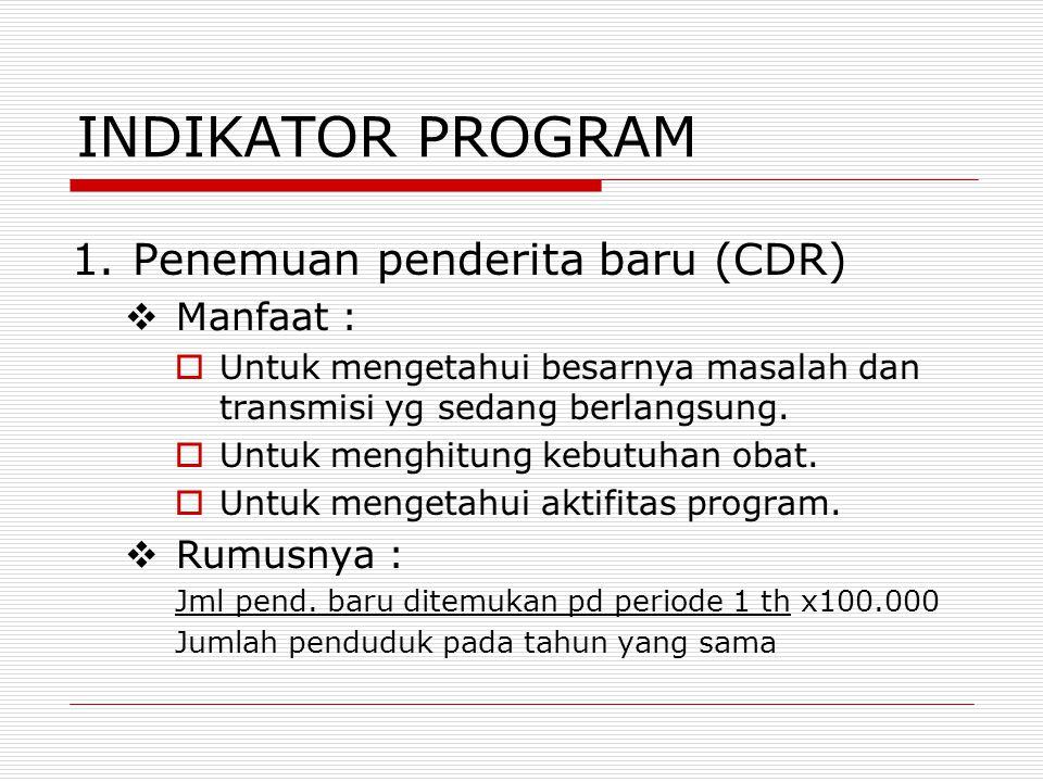 INDIKATOR PROGRAM 1.Penemuan penderita baru (CDR)  Manfaat :  Untuk mengetahui besarnya masalah dan transmisi yg sedang berlangsung.  Untuk menghit