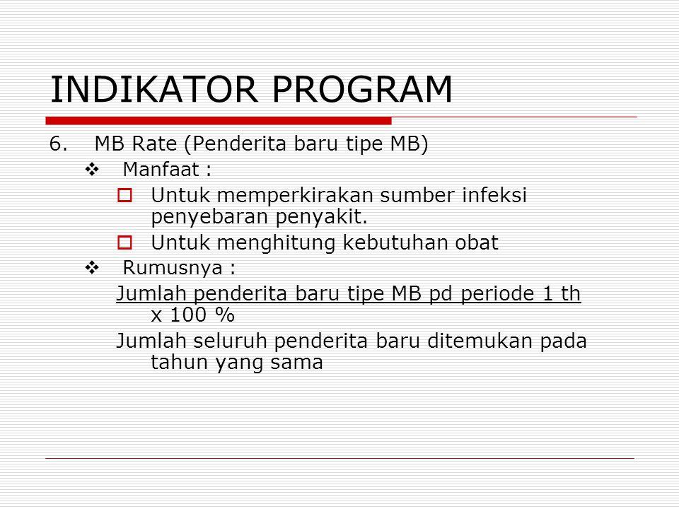 INDIKATOR PROGRAM 6.MB Rate (Penderita baru tipe MB)  Manfaat :  Untuk memperkirakan sumber infeksi penyebaran penyakit.  Untuk menghitung kebutuha