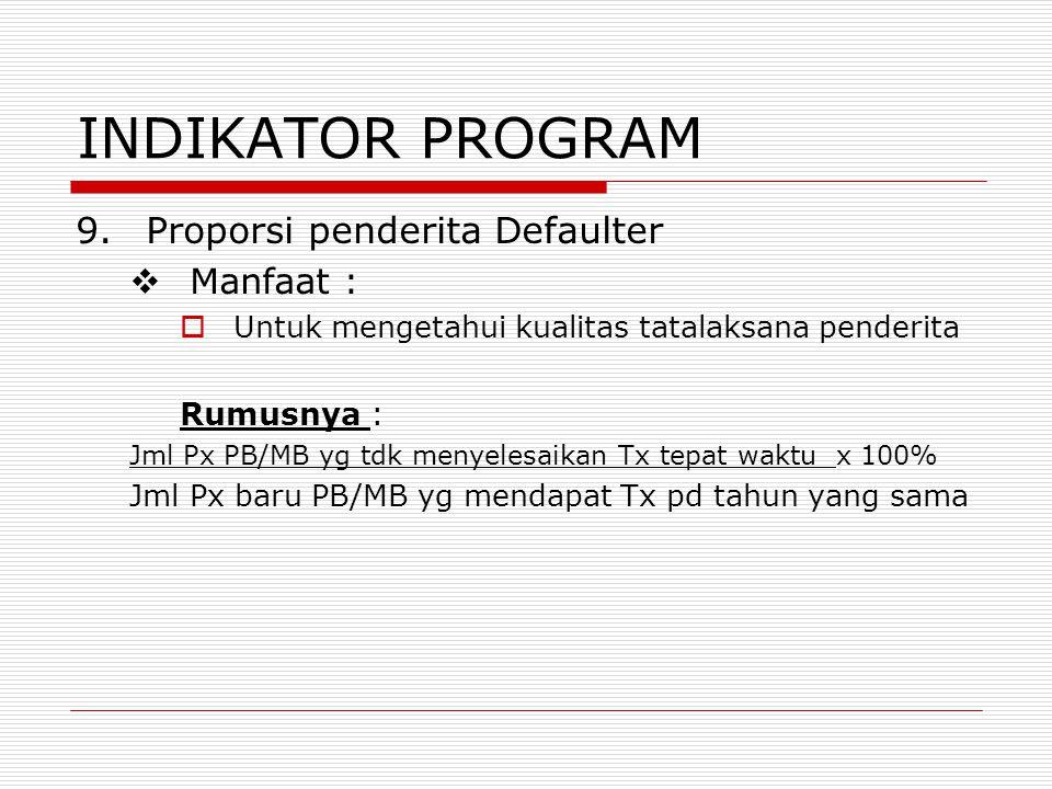 INDIKATOR PROGRAM 9.Proporsi penderita Defaulter  Manfaat :  Untuk mengetahui kualitas tatalaksana penderita Rumusnya : Jml Px PB/MB yg tdk menyeles