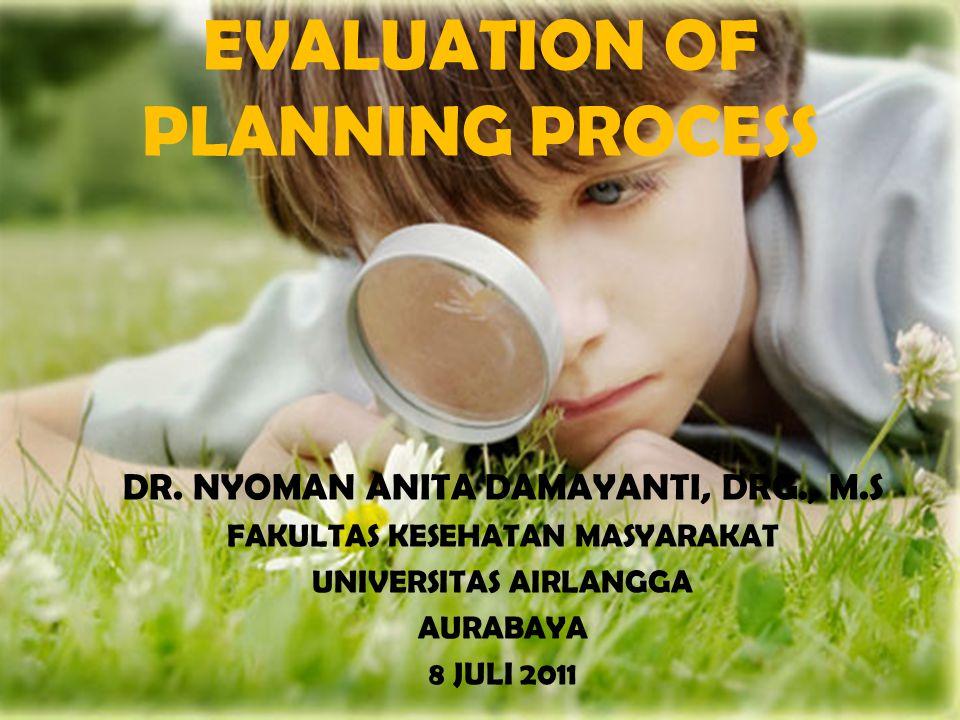 EVALUASI Integral dengan perencanaan Dilaksanakan untuk mengukur pencapaian Mengetahui kesesuaian rencana dg hasil analisis situasi Memperoleh Informasi sebagai bahan pengambilan keputusan