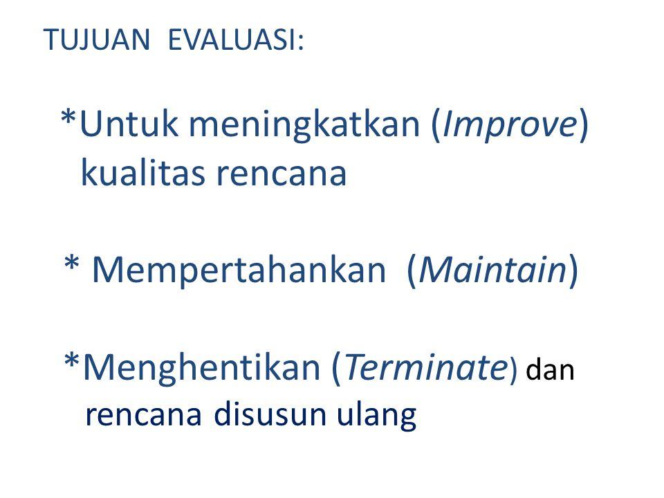 TUJUAN EVALUASI: *Untuk meningkatkan (Improve) kualitas rencana * Mempertahankan (Maintain) *Menghentikan (Terminate ) dan rencana disusun ulang