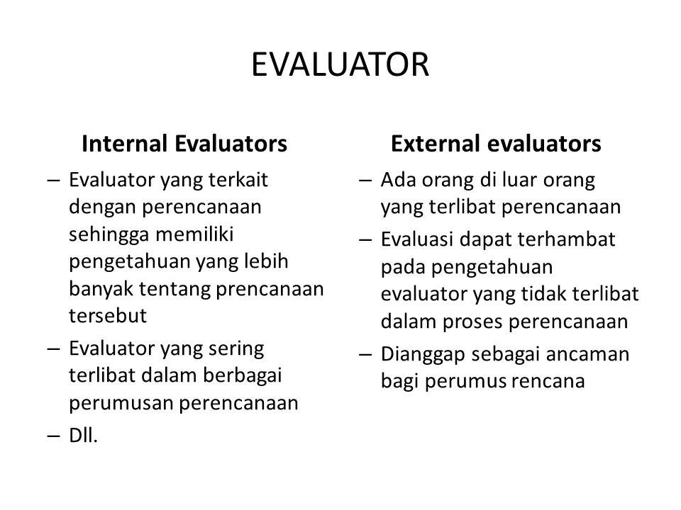 EVALUATOR Internal Evaluators – Evaluator yang terkait dengan perencanaan sehingga memiliki pengetahuan yang lebih banyak tentang prencanaan tersebut