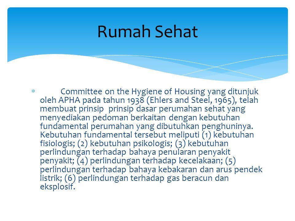  Committee on the Hygiene of Housing yang ditunjuk oleh APHA pada tahun 1938 (Ehlers and Steel, 1965), telah membuat prinsip prinsip dasar perumahan