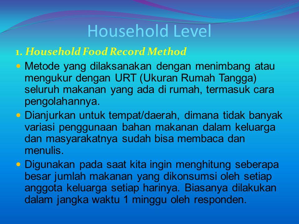 Household Level 1. Household Food Record Method Metode yang dilaksanakan dengan menimbang atau mengukur dengan URT (Ukuran Rumah Tangga) seluruh makan