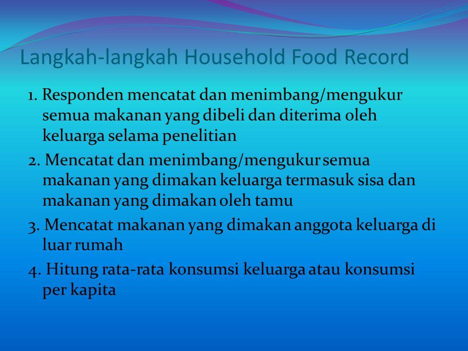 Langkah-langkah Household Food Record 1. Responden mencatat dan menimbang/mengukur semua makanan yang dibeli dan diterima oleh keluarga selama penelit