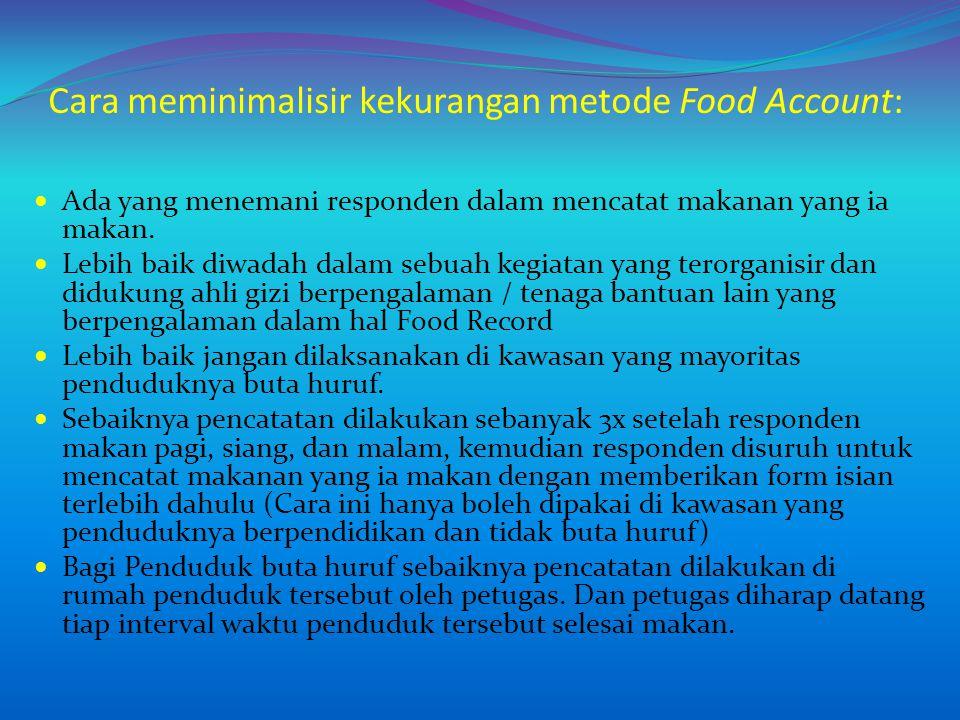 Cara meminimalisir kekurangan metode Food Account: Ada yang menemani responden dalam mencatat makanan yang ia makan. Lebih baik diwadah dalam sebuah k